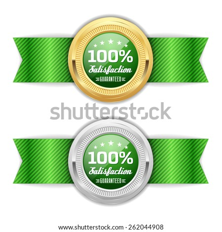 Gold and silver satisfaction badge with green ribbon - stock vector