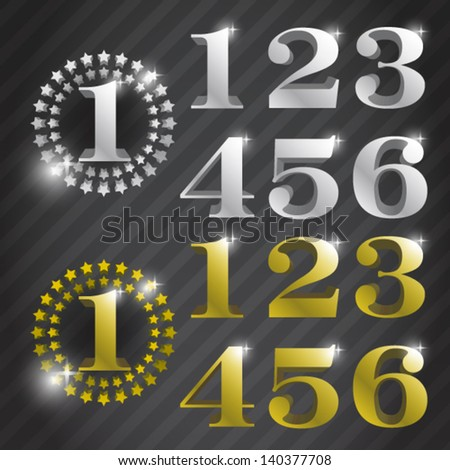 gold and silver solid award numbers from 1 to 6 - stock vector