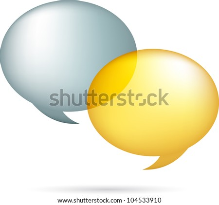 Gold and silver speech bubbles - stock vector