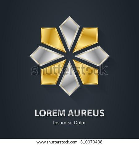 Gold and Silver star logo. Award 3d icon. Metallic logotype template. Volume Vector illustration. - stock vector