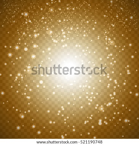 Gold and White Sparkles on Transparent Vector Background