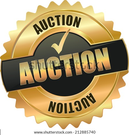 gold auction sign - stock vector