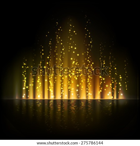 Gold aurora light. Shiny Abstract vector background.  - stock vector