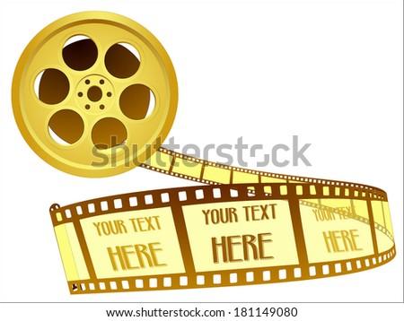 Gold award, golden movie, cinema award, golden film, movie reel and film roll. Vector art image illustration eps10, isolated on white background - stock vector