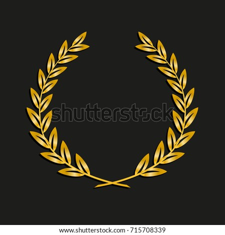 Gold Award Laurel Wreath Symbol Victory Stock Vector ...