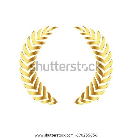 Gold Award Laurel Wreath Winner Label Stock Photo Photo Vector
