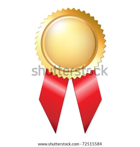 Gold Award Ribbons, Isolated On White Background, Vector Illustration