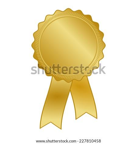 gold award rosette with ribbon - stock vector