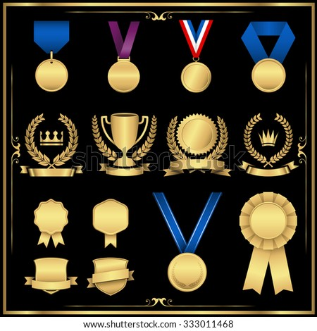 Gold Award Set - Shiny gold award set with emblems, medals, ribbons, and trophy.  Colors are global swatches.  File is layered, and each element is grouped separately for easy editing. - stock vector