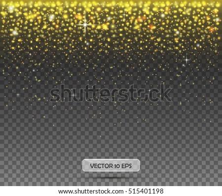 Gold background.Vector.Shining Motion Luxury Design.Isolated on transparent background.Gold glitter particles background effect.Sparkling texture.Shimmer background.For holiday greeting card design.