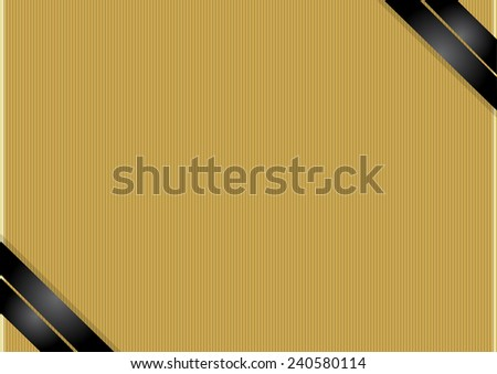 Gold background with black ribbons - stock vector