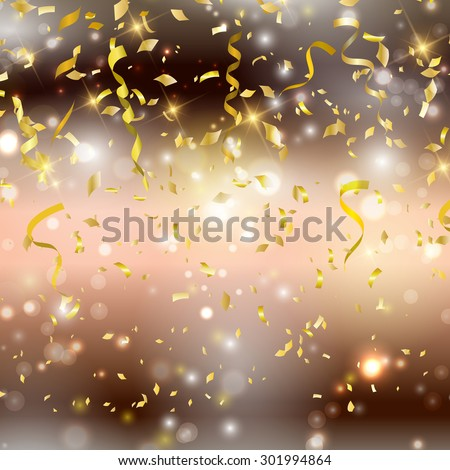 Gold background with confetti and streamers - stock vector