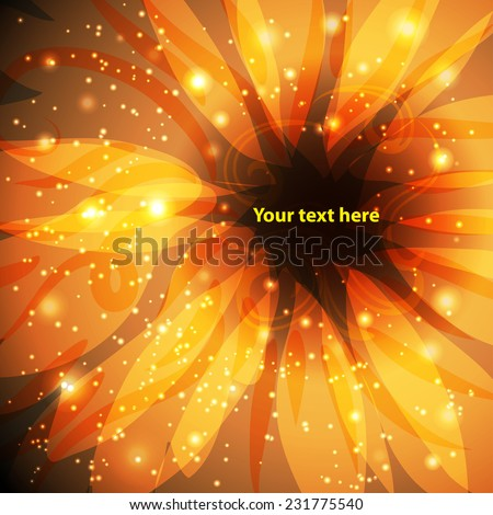 gold background with fabulous, fantastic flower. Place for your text here - stock vector