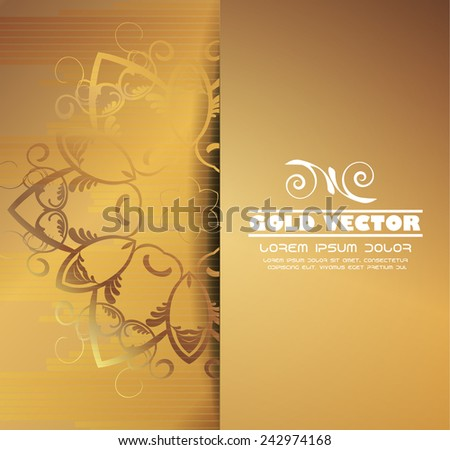 Gold background with floral ornaments, vector - stock vector