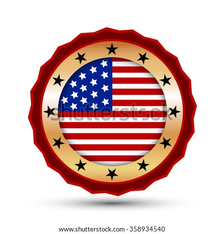 Gold badge and icon with USA flag symbol. - stock vector