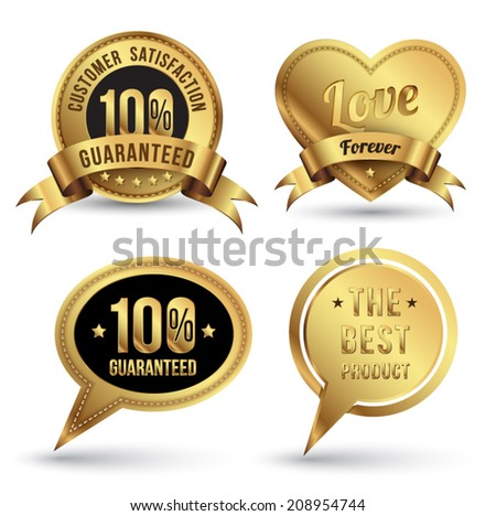 Gold badge embroidery style set. For guaranteed, Love concept or wedding, Promotion tag and banner. speech, heart, circle and ribbon. - stock vector