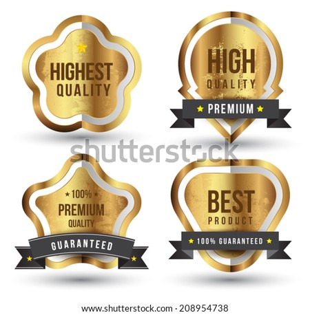 Gold badge set. For guaranteed, black ribbon, high quality, tag and banner. Can use for promote product or service. - stock vector