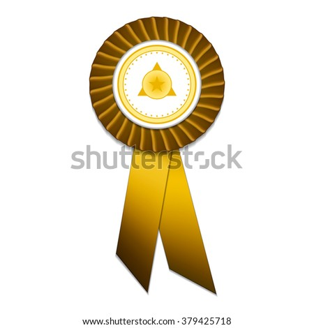 Gold badge with gold ribbons and gold signs - stock vector