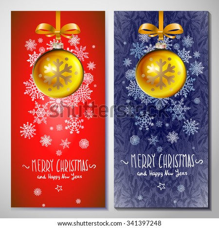 gold ball vector holiday, christmas blue red background illustration, decoration xmas, banner art - stock vector