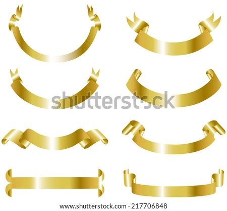 Gold Banners Collection - Set of realistic gold metallic banners.  Each banner is grouped individually for easy editing. - stock vector