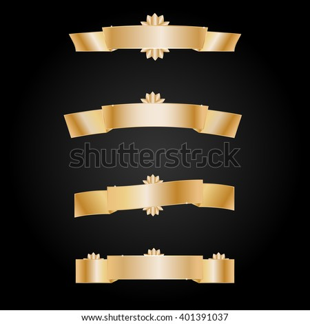 gold banners set on a black background