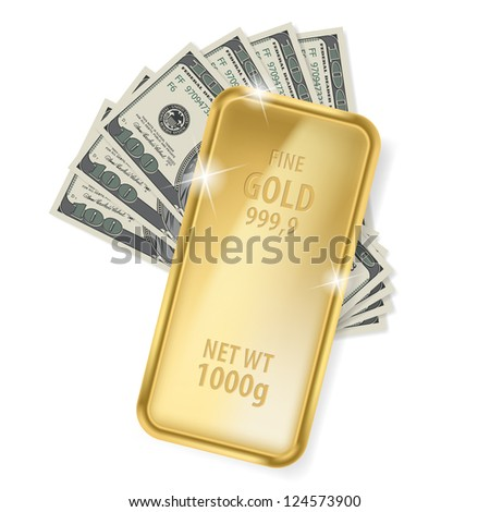 Gold bar and dollars. Illustration on white background for design - stock vector