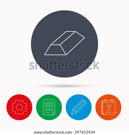 Gold bar icon. Banking treasure sign. Calendar, cogwheel, document file and pencil icons. - stock vector