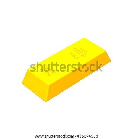 Gold bar.Isolated on white background.Vector colorful illustration.