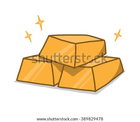 Gold Bars, a hand drawn vector illustration of stacked shiny gold bars (gold bars, sparkles effect and the shadow backdrop are on different groups for easy editing). - stock vector