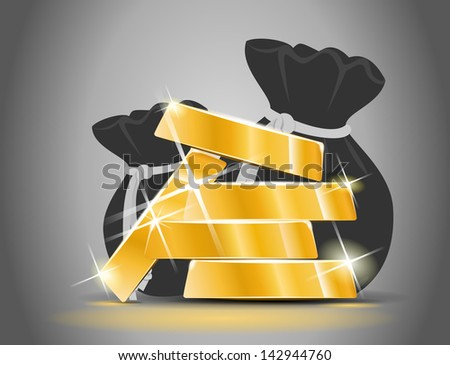 Gold bars from a bag full of money - stock vector