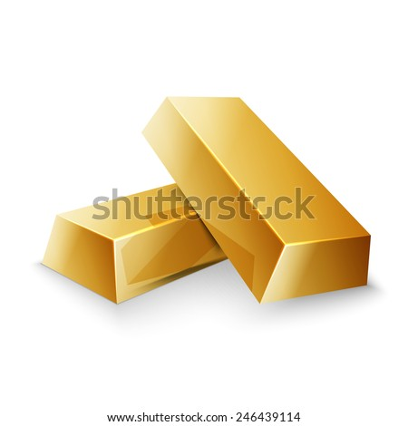 Gold bars isolated on white photo, excellent vector illustration, EPS 10 - stock vector