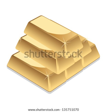 Gold bars vector - stock vector