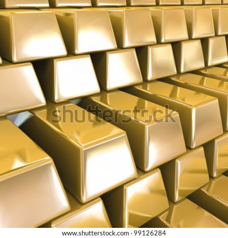 Gold Bars. Vector background - stock vector