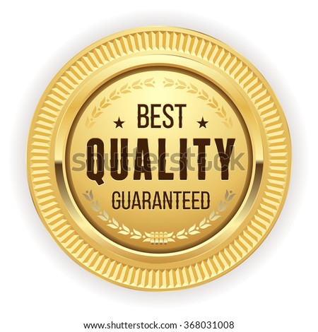 Gold best quality badge on white background - stock vector
