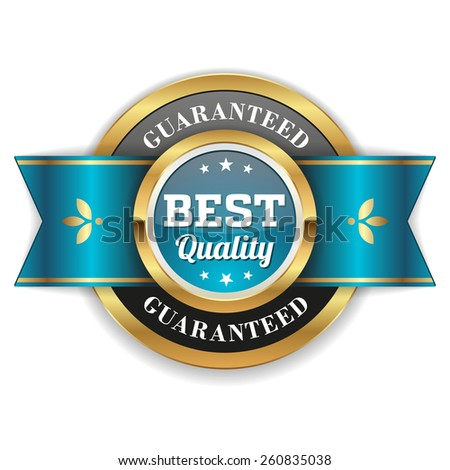 Gold best quality badge with light blue ribbon - stock vector