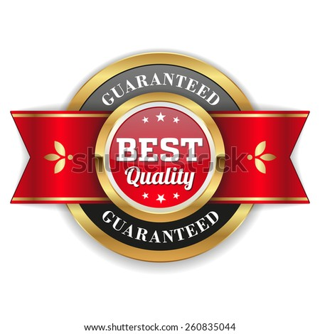 Gold best quality badge with red ribbon - stock vector
