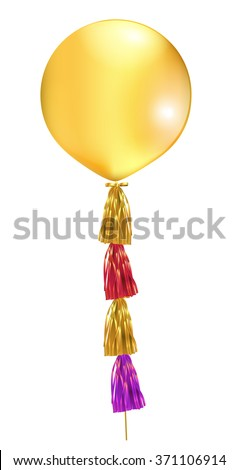 Gold big latex balloon with tassel. Vector illustration. - stock vector