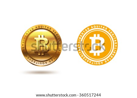 Gold Bitcoin coin Logo design vector template. Two versions of Fintech Blockchain Logotype: Flat and 3D - stock vector