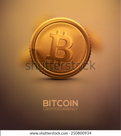 Gold bitcoin, cryptocurrency, eps 10 - stock vector