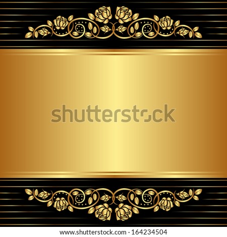 gold black background with floral ornaments - stock vector
