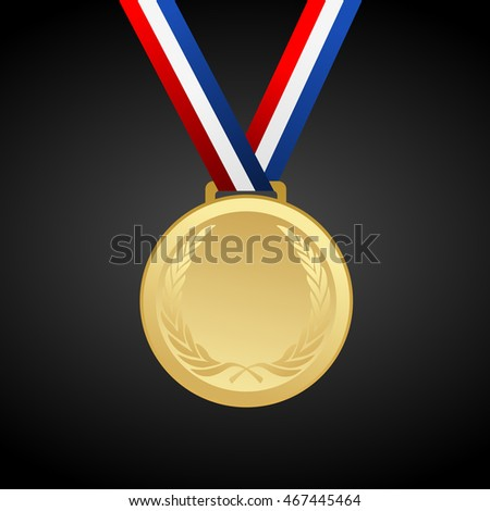 Gold blank award medal with ribbon - vector graphic