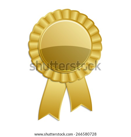 Gold blank award rosette with ribbon - stock vector
