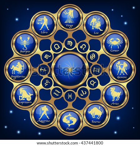 Gold blue horoscope circle.Circle with signs of zodiac.Vector illustration - stock vector