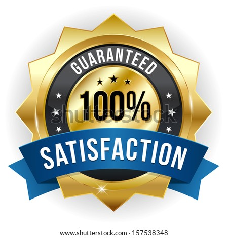 Gold blue hundred percent satisfaction badge - stock vector