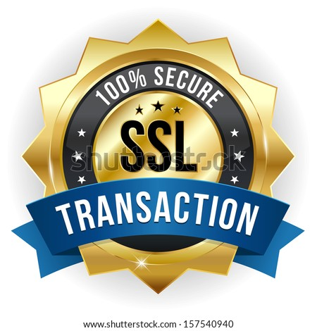 Gold blue secure transaction badge - stock vector