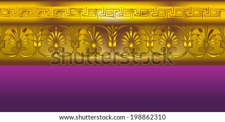 Gold border in the ancient Greek style. - stock vector
