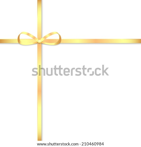 Gold bow for decorating gifts isolated on white background  - stock vector