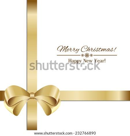 gold bow isolated on white background  - stock vector