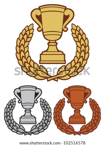 gold, bronze and silver trophy cup with laurel wreath (trophy cup emblem, winner cup, first place, second place and third place) - stock vector