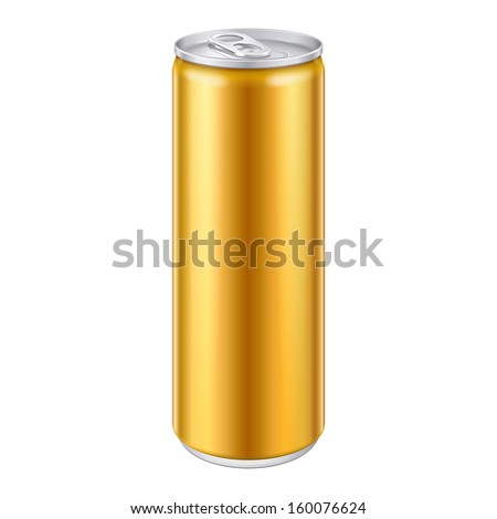 Gold Bronze Yellow Orange Metal Aluminum Beverage Drink Can 250ml. Mockup Template Ready For Your Design. Isolated On White Background. Product Packing. Vector EPS10 Product Packing Vector EPS10